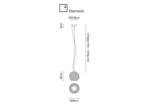 Подвесной светильник Fabbian DIAMOND&SWIRL D82 A01/03, фото 2